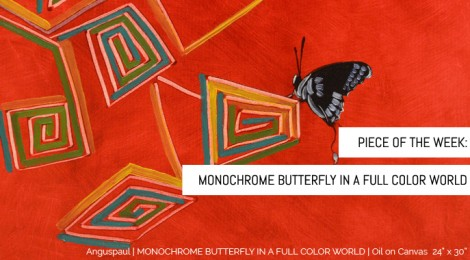 Monochrome Butterfly in a Full Color World