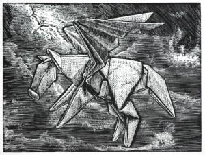 """Pegasus navigating through the storms of life Wood engraving 3x4"""""""