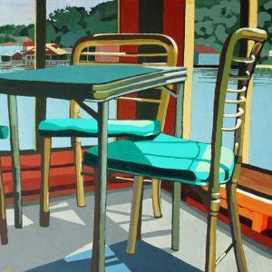 "Lake House 24"" X 24"" acrylic on canvas $400"