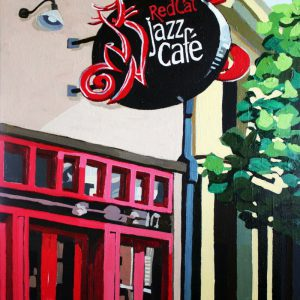 "Red Cat Jazz Cafe 20"" X 16"" acrylic on canvas $345"