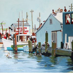 """Pelican Party 18"""" X 24"""" acrylic on canvas $400"""