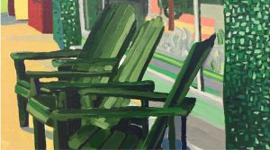 "Green Chairs 10"" X 8"" acrylic on canvas $100"