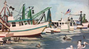 "Pelican Patrol 18"" X ""24 acrylic on canvas $400"
