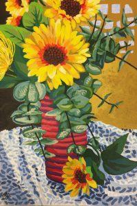"""Sunflowers 3 16"""" X 12"""" acrylic on canvas $200"""