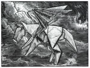 Pegasus navigating through the storms of life Wood engraving 3x4""