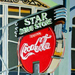 "Star Drug Store 20"" X 16"" acrylic on canvas $275"