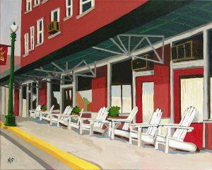 "Old Hotel 16"" X 20"" acrylic on canvas $125"