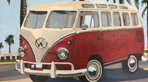 """Little Red Bus 16"""" X 20"""" acrylic on canvas $275"""